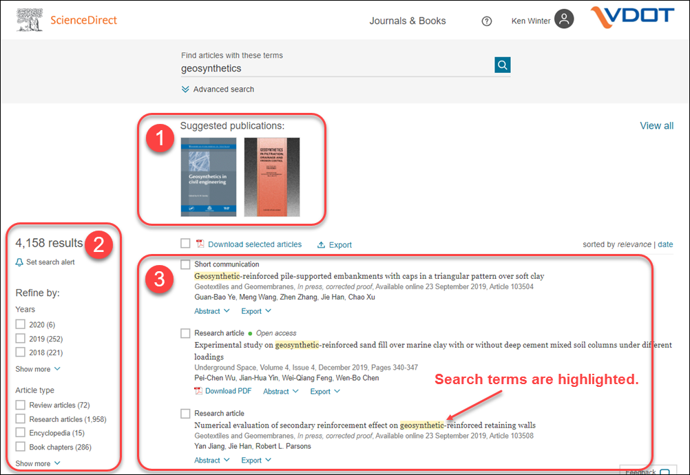 Screen capture showing simple search results from ScienceDirect.