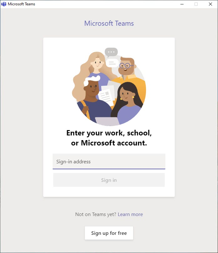 A screen capture showing the Microsoft Teams sign in screen.