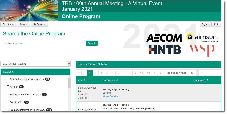 trb online program 2021