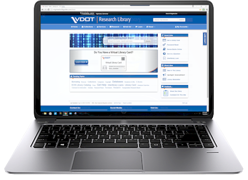 Image of the new library home page on a laptop.