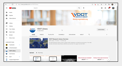 Screen capture showing the library's YouTube video page.