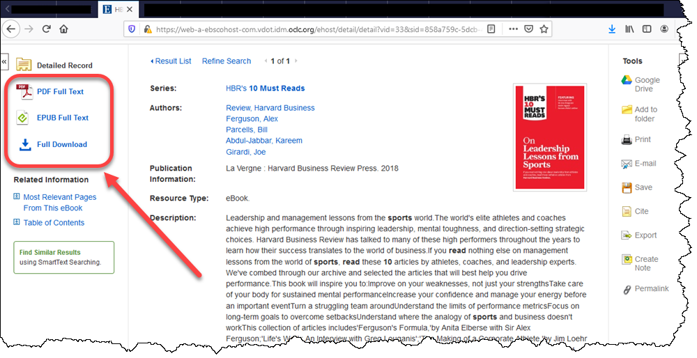 Screen capture demonstrating the appearance of an eBook in the HBR series.