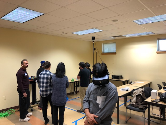 Image of group testing out VR