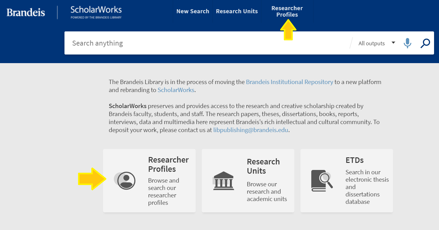 ScholarWorks homepage, Research Profiles on top banner, Researcher Profiles box