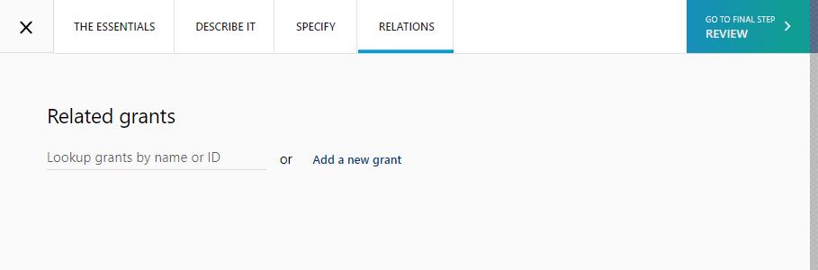 Enter grant information