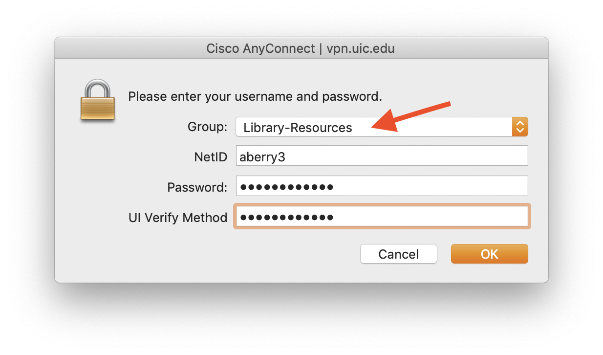 """screenshot of Cisco AnyConnect window, with """"Library Resources"""" Group selected."""