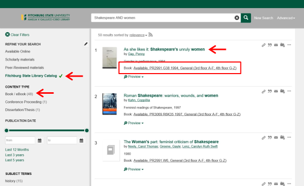 Screen shot of Summon search results page showing the book/ebook and Fitchburg State Library Catalog filters.