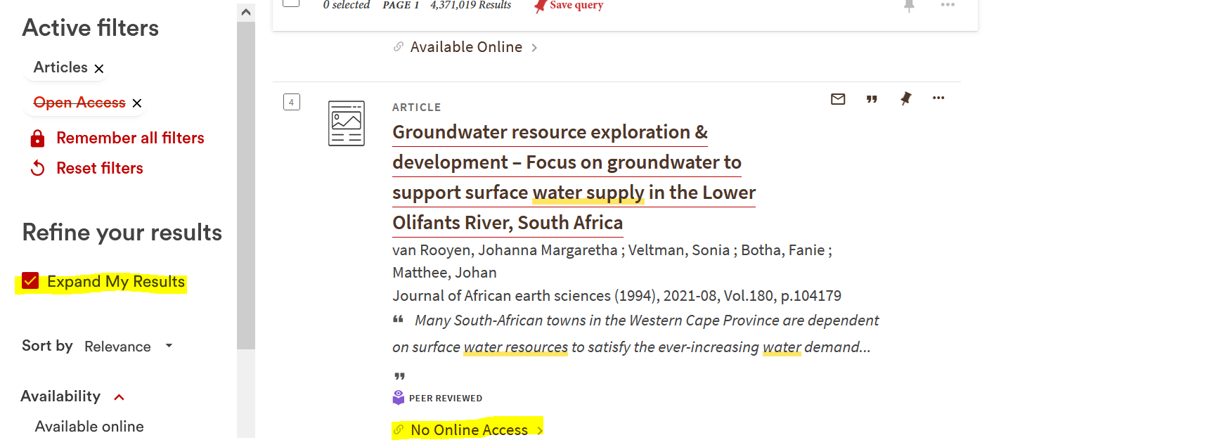 screenshot of expanded access filter and no online access in result