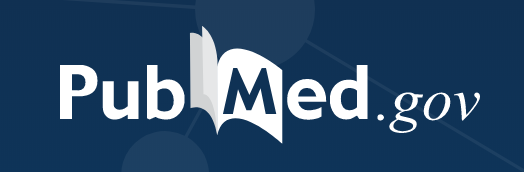 PubMed logo with dark blue background