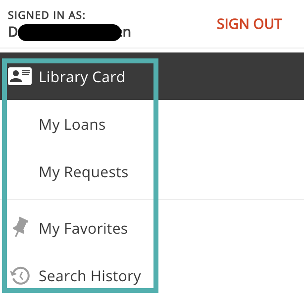Image of drop down menu for Library Card in SEARCH