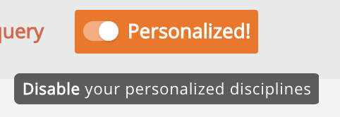 Image of icon to de-toggle personalization