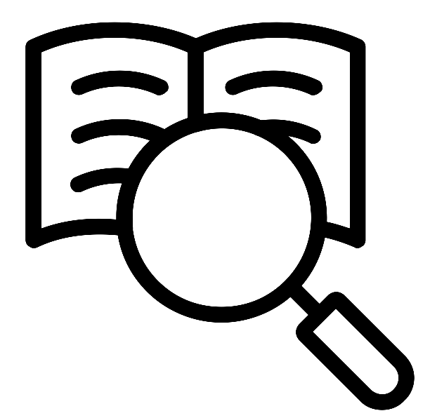 icon for finding materials - magnifying glass on page