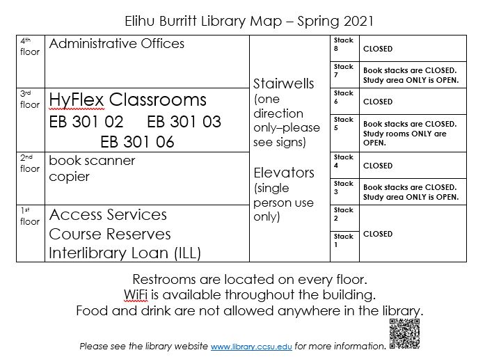 Library map - Spring 2021, showing closed stacks, with open study areas on stacks 3, 5 & 7