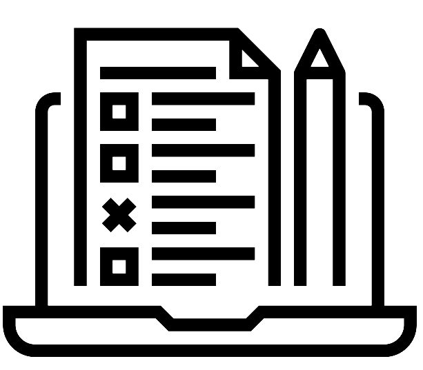 Icon for Evaluate materials - line image of page on laptop with pencil