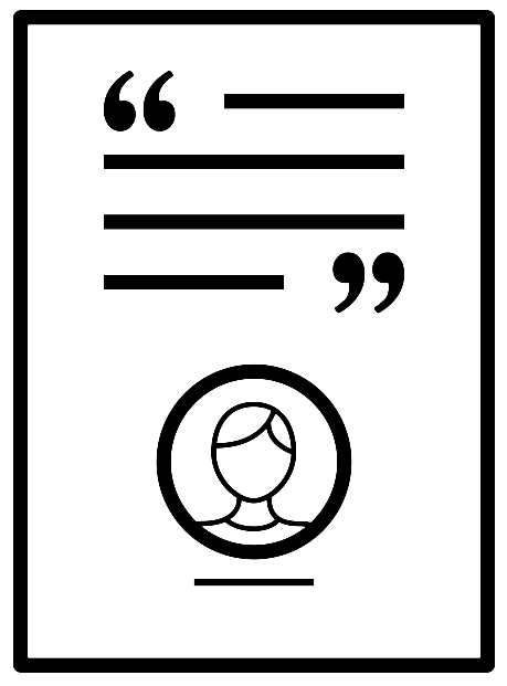 Icon of paper with quotation marks