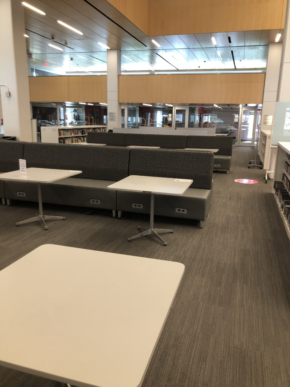 Library space; main floor middle area