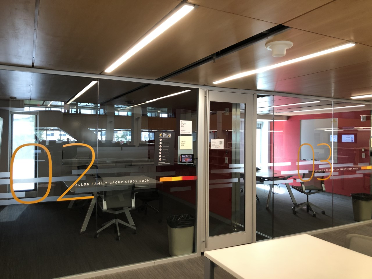 Library space; main floor study rooms