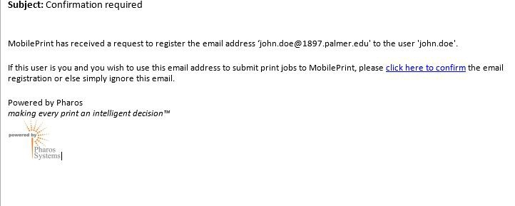 Screenshot of email confirmation.