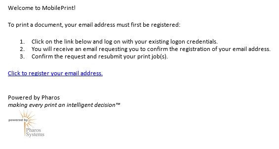 Screenshot of directions for confirming email address.