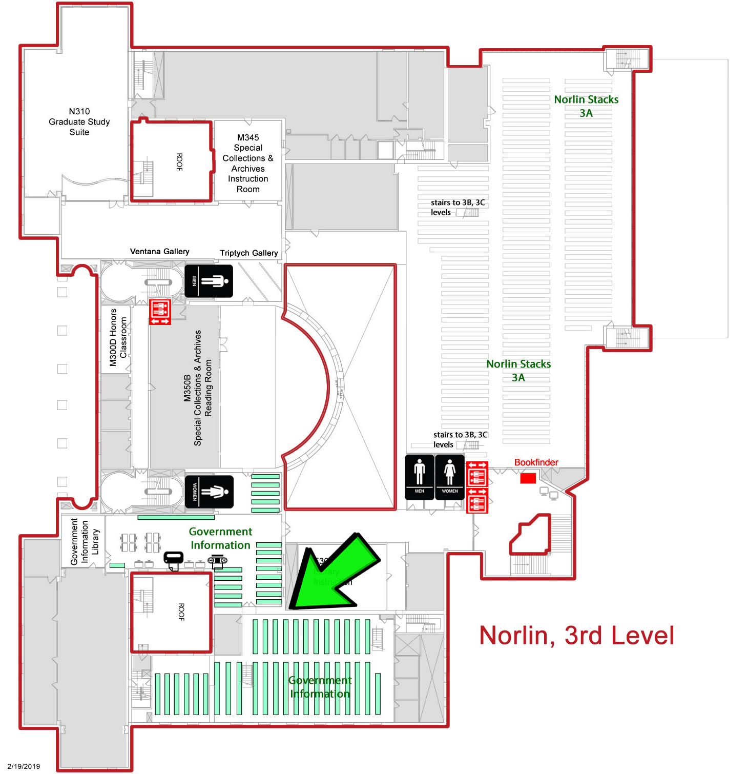 Government Information Third Floor Mezzanine Map