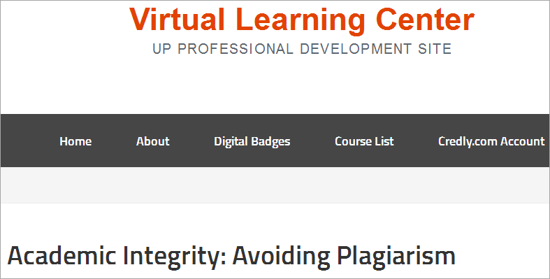 Virtual Learning Center: Academic Integrity: Avoiding Plagiarism