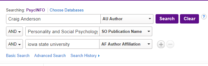 Type author name, publication title, and any other information into the database search box.