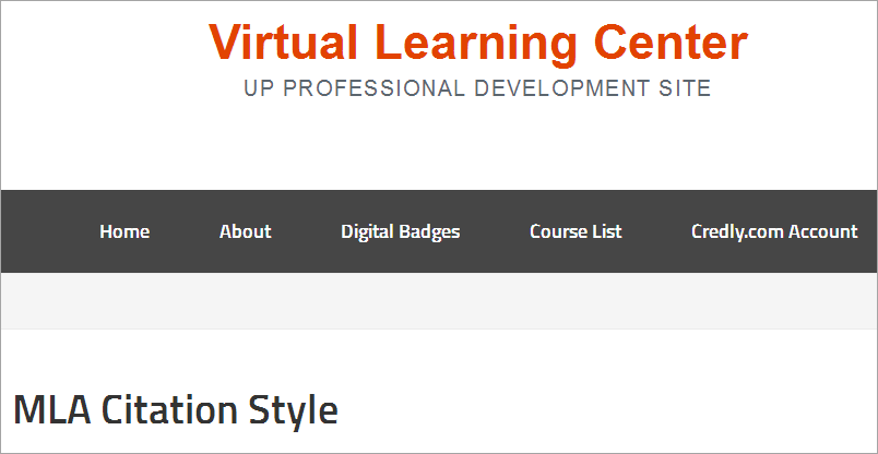 Virtual Learning Center: MLA Citation Style