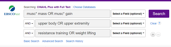 Shows above search with [resistance training OR weight lifting] added.