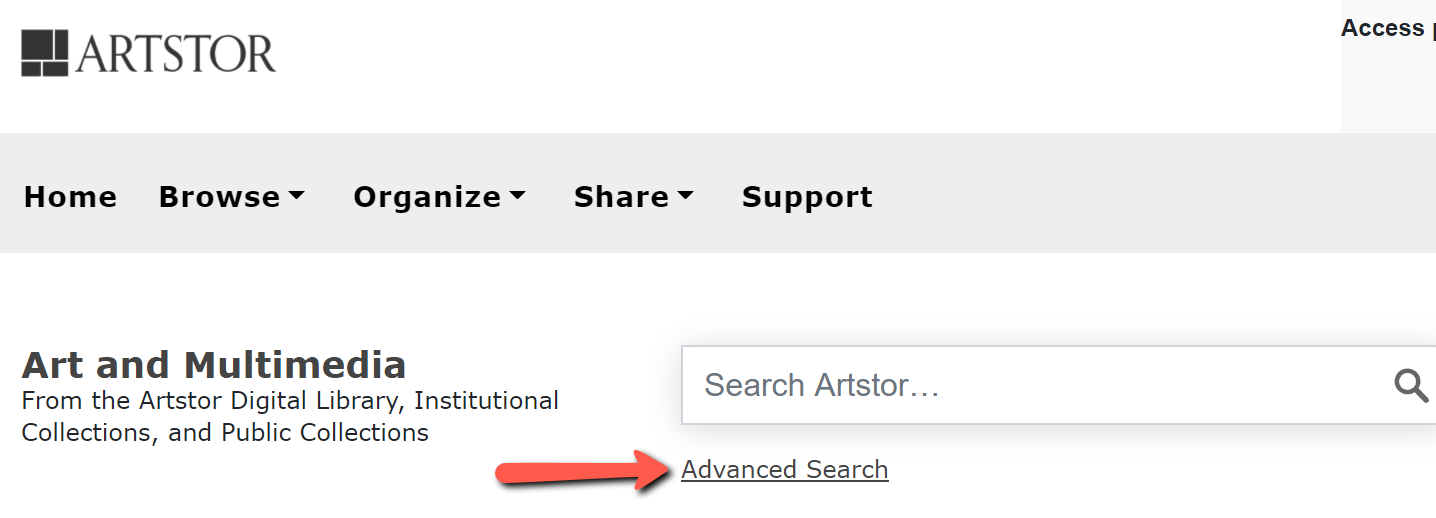 Artstor search screen with arrow pointing to Advanced Search link