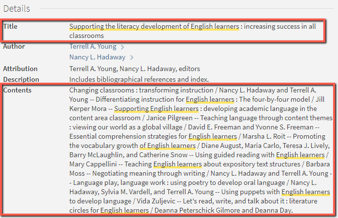 Book Title and Contents (Chapter Titles) highlighted