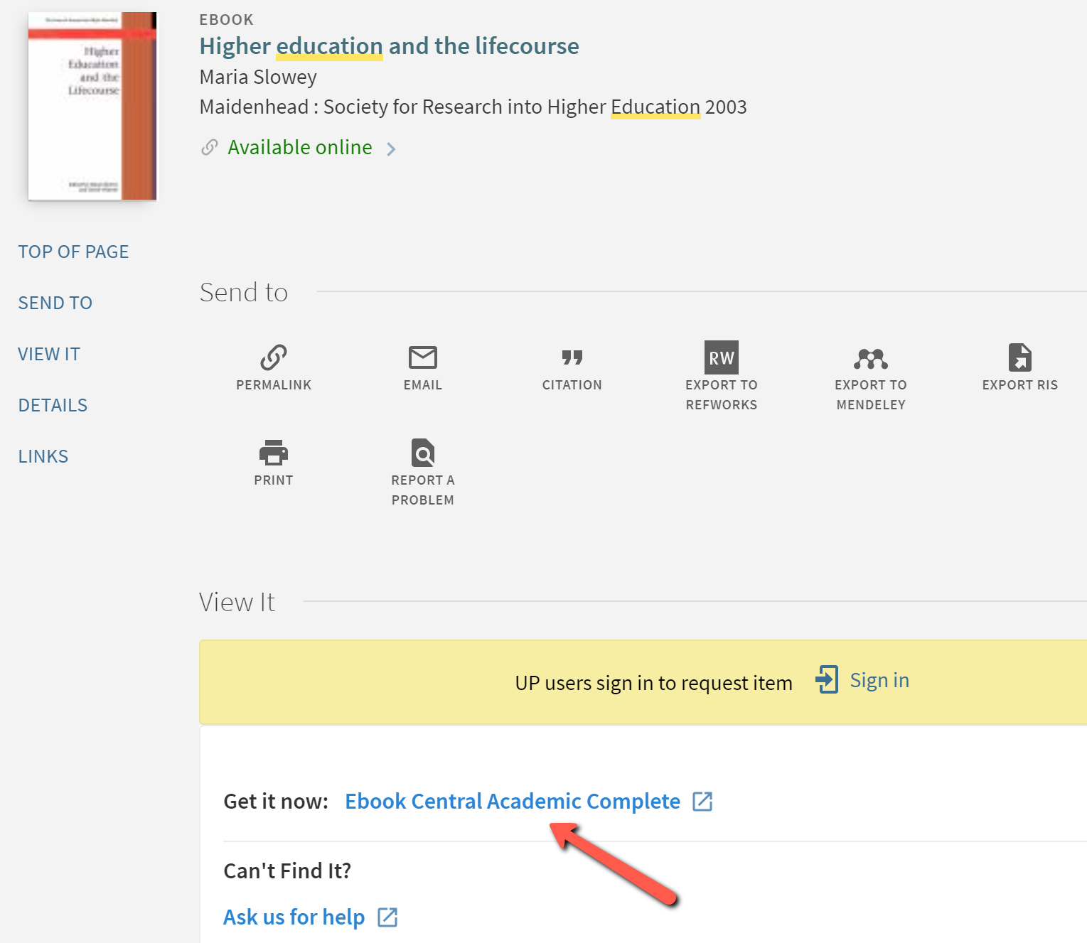 Full record for eBook with arrow pointing to Get it now link