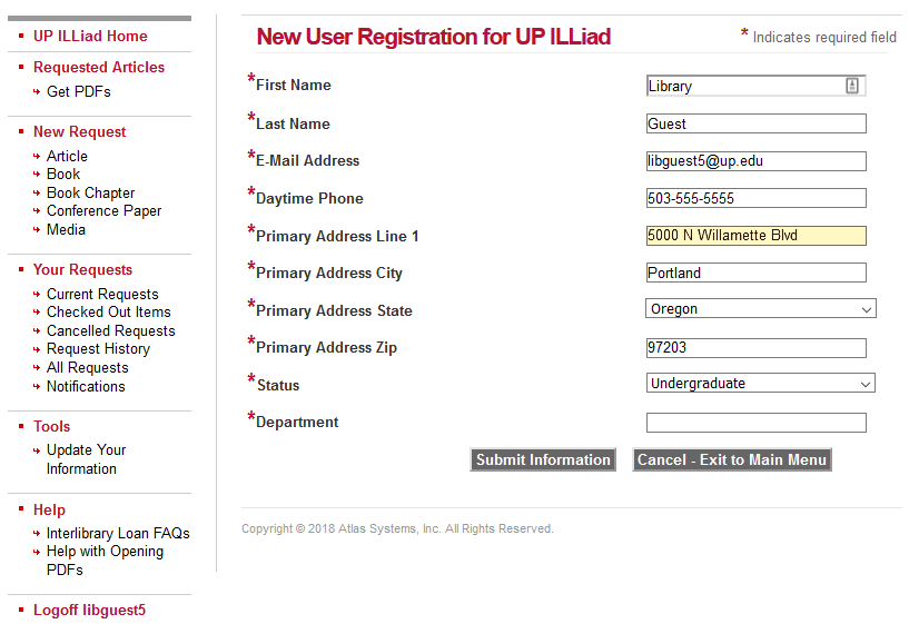 New User Registration for UP ILLiad