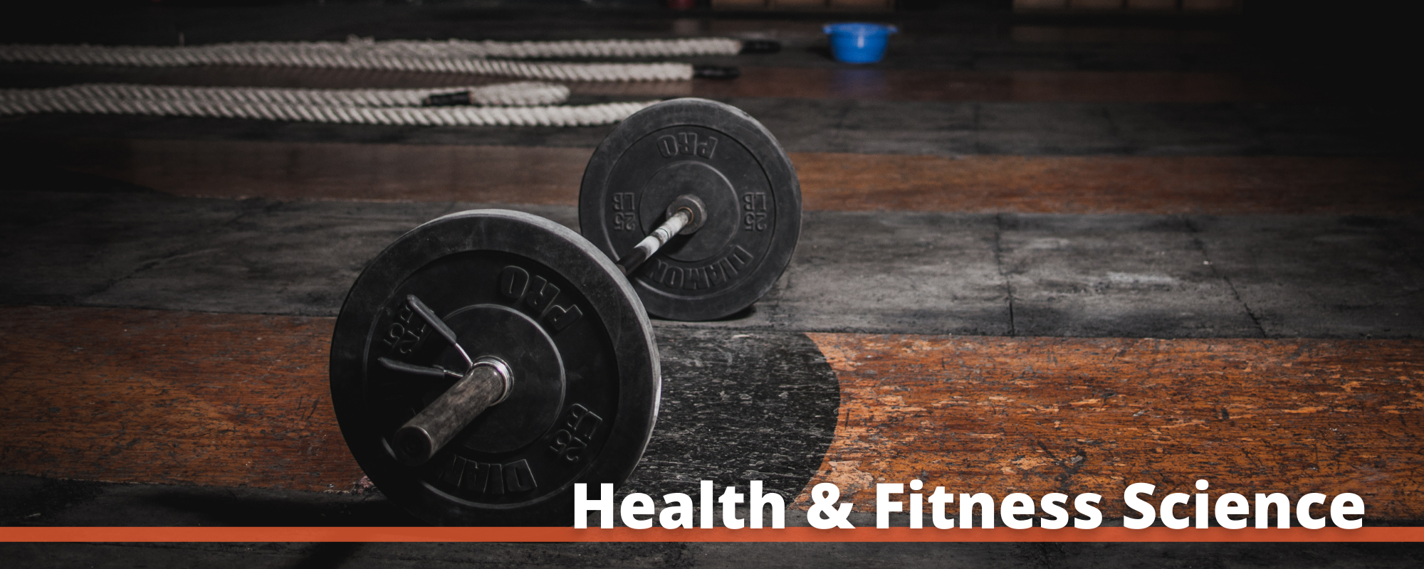 """Image of a set of weights with the words """"Health and Fitness Science"""" printed below"""