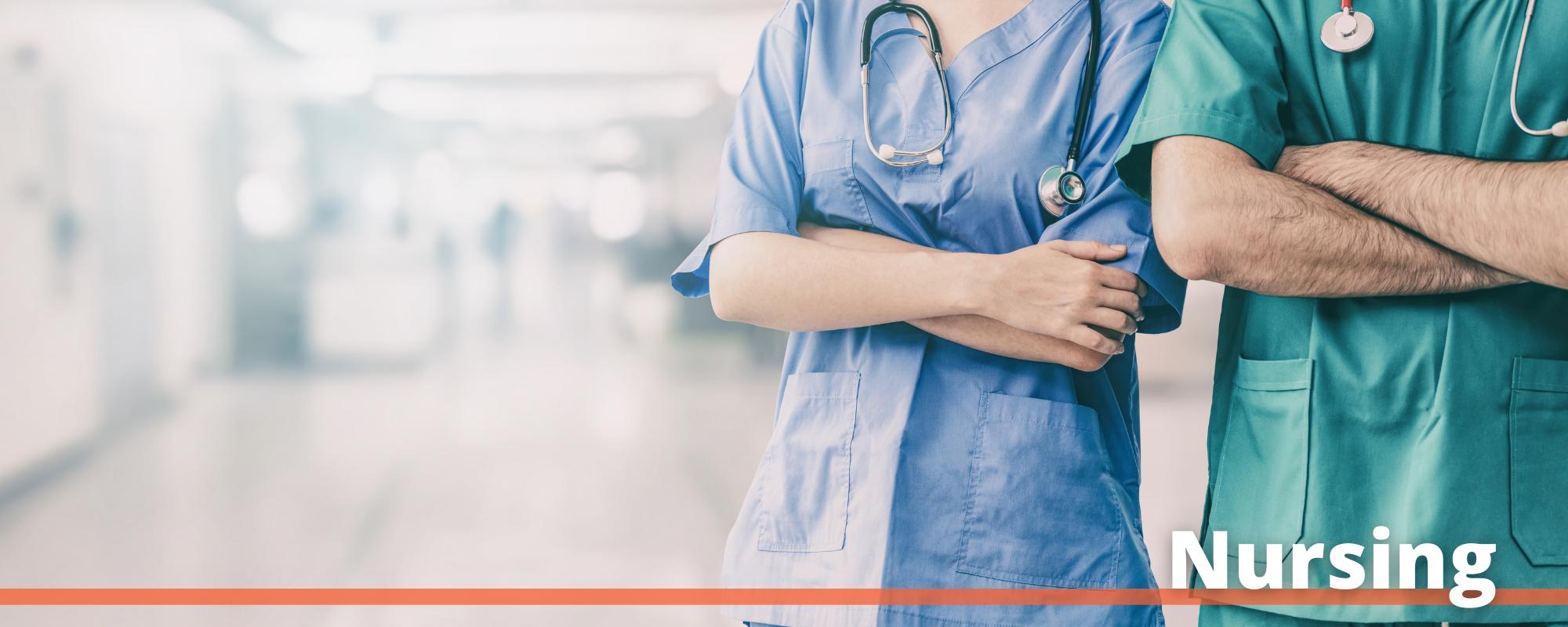 """Image of two nurses in scrubs with the word """"Nursing"""" printed below"""