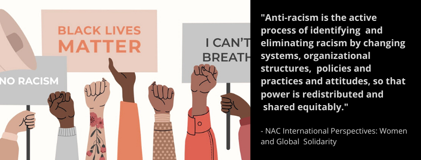 """Anti-racism is the active process of identifying  and eliminating racism by changing systems, organizational structures,  policies and practices and attitudes, so that power is redistributed and  shared equitably."" - NAC International Perspectives: Women and Global Solidarity"
