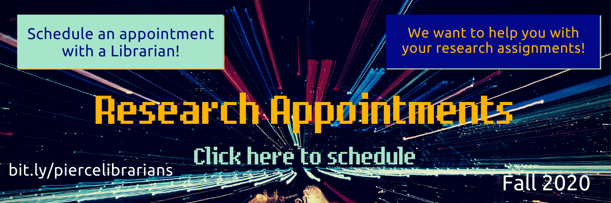 Schedule a research appointment with librarians by clicking on this banner