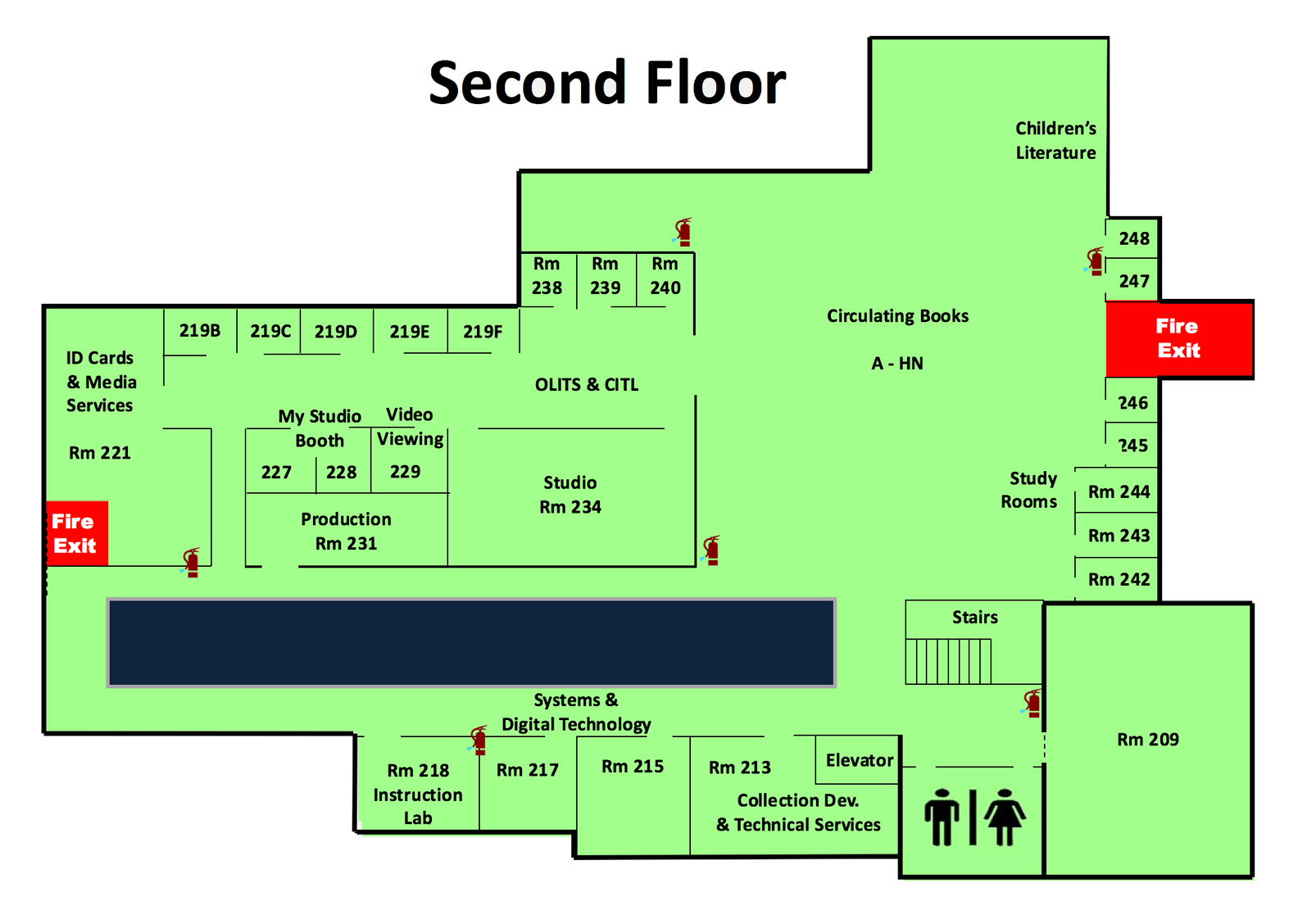 Map of second floor of the library for materials