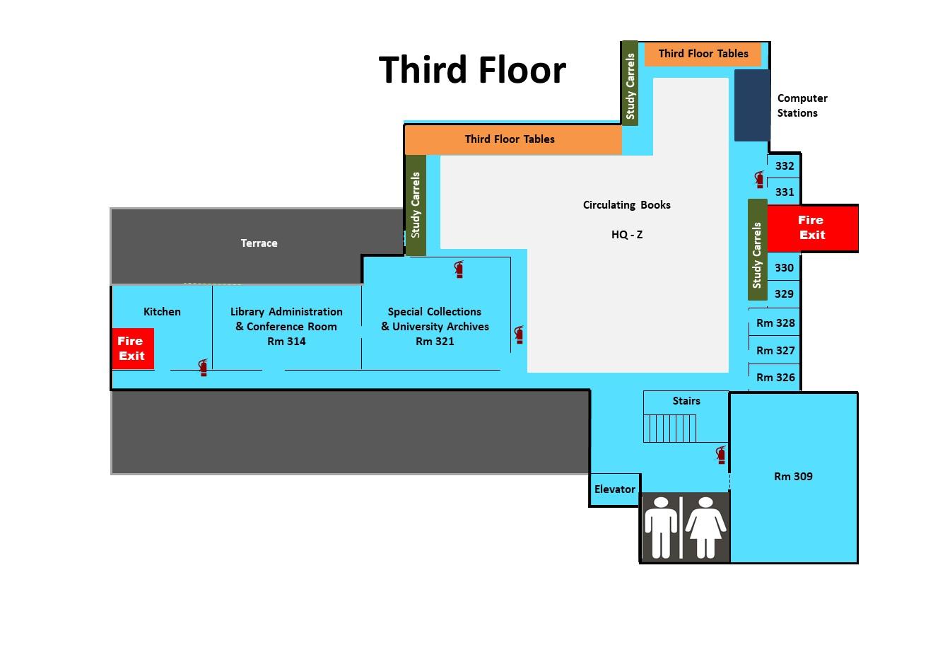 Third floor library materials