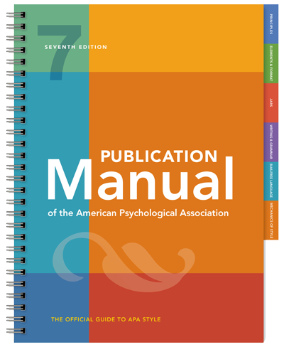 The cover art for the 7th edition of the APA manual