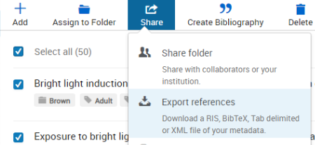 A screenshot of Refworks with the Share menu open and the Export References option highlighted.