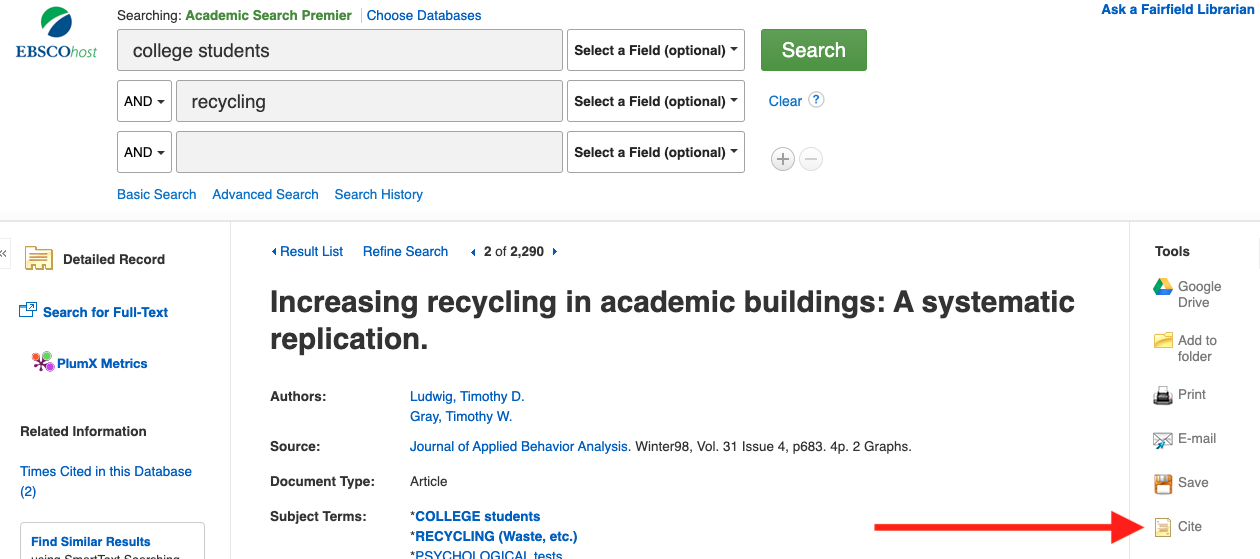 "A screenshot of an article on the database Academic Search Premier with an arrow pointing to the ""cite"" button under ""tools"" on the right side of the page"