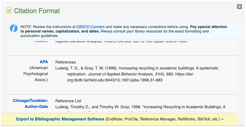 A screenshot of the generated citation for APA in the database Academic Search Premier