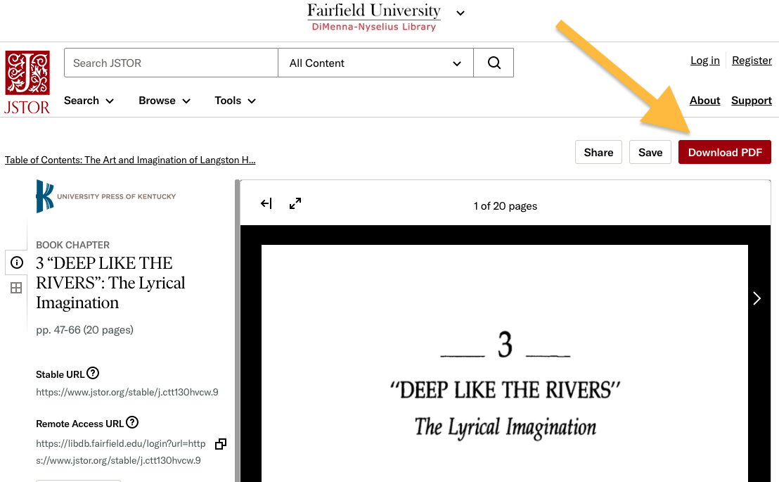 A screenshot of a chapter page in a JSTOR eBook with an arrow pointing to the