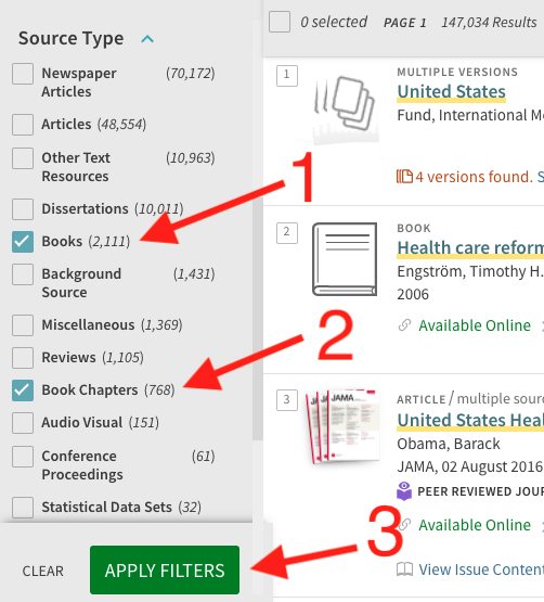 A screenshot of the filters on the left side of the results page with the checkboxes next to books and book chapters selected under Source Type, and an arrow highlighting the Apply Filters button