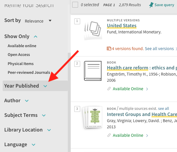 A screenshot of the results page with an arrow highlighting the Year Published filter on the left side of the screen