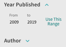 Screenshot of the Year Published filter set to filter to results published from 2009 to 2019