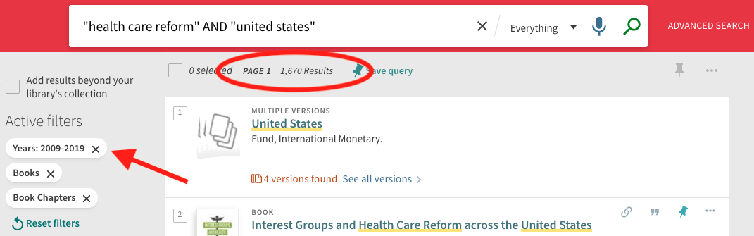 A screenshot highlighting fewer than 2,000 results now that we've filtered to books and book chapters published within the past 10 years