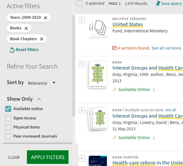 A screenshot showing the Available Online checkbox under Show Only in the result filters on the left side of the page