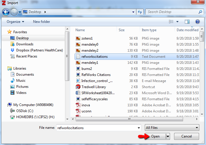 "A screenshot of a computer's files and the exported Refworks citations file selected, about to choose the ""Open"" option"