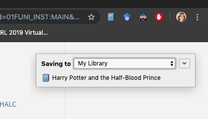 Screenshot showing the Zotero saved Harry Potter and the Half-Blood Prince to the library